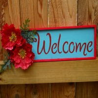 welcome poppies plaque